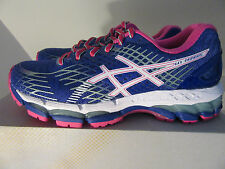 Womens Asics Gel Nimbus 17 Sneakers Shoes Size 5 Blue White Pink T557N 4301