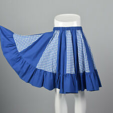 Blue Circle Skirt Gingham 70s Square Dance Skirt VTG  Ruffle Full Circle Pin Up