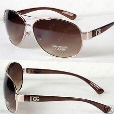 New DG Eyewear Mens Womens Sunglasses Shades Fashion Designer Gold Brown Pilot