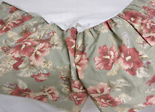 RALPH LAUREN Red Hibiscus on Sage Green Background SHETLAND MANOR Full Bed Skirt