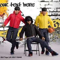 1/6 Male FG040 Down Jackets Coat Clothes Suit Black/Yellow/Red 12'' Body Figure