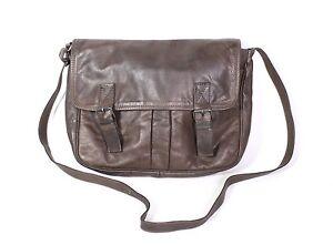 11B Creation Gabriele Damen Tasche Umhängetasche Leder braun Messenger Vintage