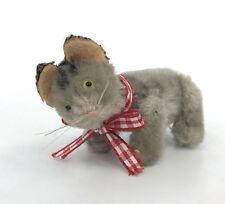 Schuco Noahs Ark Tabby Cat Mohair Plush Metal 1950s 4.5cm 1.75in Jointed Vtg