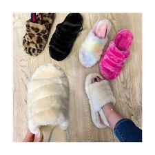 Women's Fluffy Fur Slide Slippers Indoor House Comfy Soft Fuzzy Slide Wedge Sand