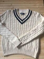 VTG RALPH LAUREN POLO Cable Knit Tennis Cricket Croquet Varsity Sweater V Sz Xl