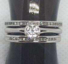 18ct White Gold Diamond Solitaire Diamond Wedding Band & Diamond Eternity Ring