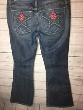 Peoples Liberation Jeans 27 Bootcut Embroidered Star Pockets Distressed Flower