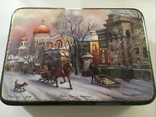 """Russian Lacquer box """"The Cathedral Of Christ The Savior"""" Hand Painted #2009 gold"""
