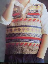 Knitting Pattern Boy Girl Tank Top Fair Isle V Neck 4 Ply 51-61 cm Chest Vintage