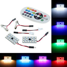 2X T10 15SMD Car RGB Festoon Dome Reading Light Atmosphere Lamp Remote Control