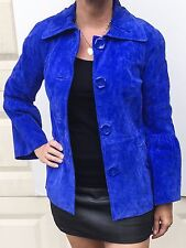Jerry Lewis Classic Luxuries genuine leather, cobalt blue, women jacket size XS