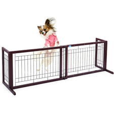 Solid Wood Adjustable Indoor Pet Fence Gate Free Standing Dog Gate