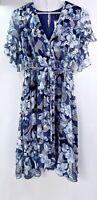 LANE BRYANT Blue White Faux Wrap Sash Tie Floral Midi Dress Sz 24 NWT Retail $79