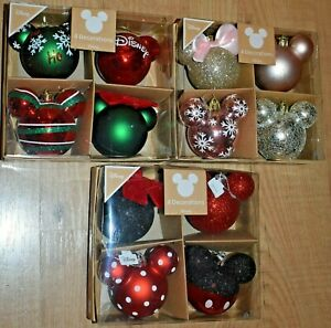 Disney Mickey Minnie Mouse set of 4 Baubles Christmas Tree Decorations Primark .