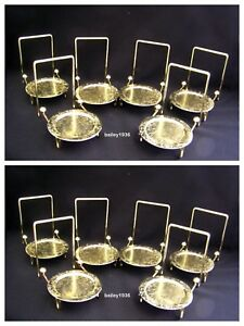 (12) Tea Cup & And Saucer Stand Display Etched Brass Tripar 23-2452 QUALITY ITEM