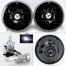 "5.75"" 5 3/4 Round Black Glass Headlight w/ 6000K 36W LED H4 Bulbs Pair Plymout"