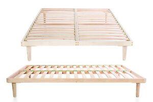 Wooden Euro King Size 160 x 200 cm Bed Frame Beech Wood Slatted Orthopedic Base