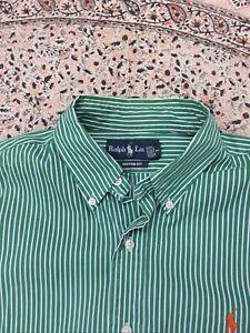 RALPH LAUREN - Custom - Green - White Striped - Button Cuff - Shirt - M
