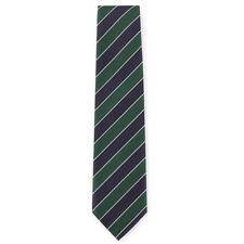 New E.MARINELLA NAPOLI Navy Blue and Forest Green Stripe Twill Silk Tie