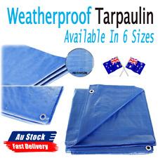 Blue Tarpaulin Tarp Canvas Waterprood Camping Poly Tarps Cover Sheet Truck UV PE