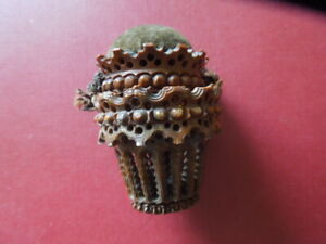 J2909 ANTIQUE NEEDLE  CASE  VEGETABLE  IVORY  2  BASKETS RARE  SEE  DESCRIP