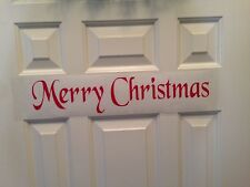 FREE SHIPPING  Merry Christmas Door decal vinyl  quote words wall Diy Holiday
