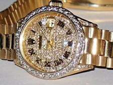Womens Rolex Datejust President 18K Solid Gold Diamonds Everywhere