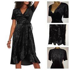 OASIS CRUSHED VELVET DRESS LAYERED WRAP ASYMMETRICAL BLACK VINTAGE S - L 8 - 16