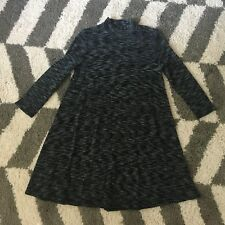 Soprano Black Heathered Space Dye Cut Out Sweater Tunic Top L Large