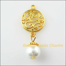 12 New Round Flower Charms White Glass Beads Pendants Gold Plated 14x36mm