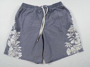- Speedo Swim Trunks Men Large Swimsuit Mesh Lining Gray Floral Drawstring USED