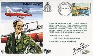 Hawker Hawk test pilot DUNCAN SIMPSON Hawk Mk1 flown signed RAF cover