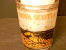 VINTAGE NOVA SCOTIA SOUVENIR SHOT GLASS FROSTED, BLACK, GOLD(A22)