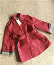 Zara Red & Brown Checked Contrasting Trench Coat Size M UK 12 Bnwt