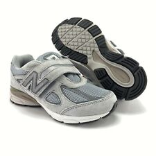 New Balance Boys 990v4 Grey Hook And Loop Running Shoes Size 1 W