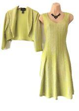 Stunning Frank Lyman Lime Green/silver dress And Bolero Suit Size 8-10