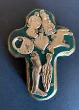 Carved Traditional Wooden Cross with Milagros, Small