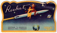 Vintage Rocket 'Gold Eye' Needles And Threader Fold Out Set!