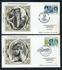 Great Britain 60th Birthday of Queen Elisabeth 2nd set 4 Benham small silk cover
