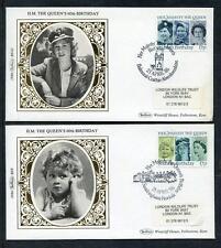 Great Britain 60th Birthday of Queen Elisabeth 2nd set 4 Benham small silk cover
