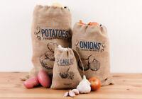 3 Pce Ladelle Eco Jute Produce Storage Bag Black Lining - Potatoes Onions Garlic