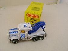 1983 MATCHBOX SUPERFAST #61 DIAL 911 POLICE M9 PETERBILT TOW WRECK TRUCK BL BOOM