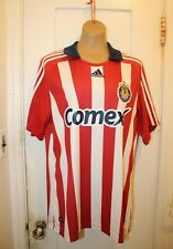 ADIDAS Chivas USA MLS Soccer Comex Red Striped Jersey Futbol Men's Large RARE