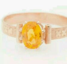 Genuine 1 ct yellow sapphire set in a 14k rose gold band ring WAS $275 CLOSE OUT
