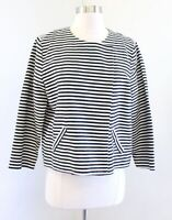 NWT Chicos Black White Striped Snap Button Sarah Jacket Size 1 Collarless