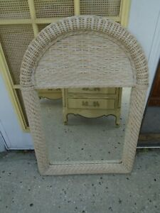 Wicker Mirror Arched Rattan Hollywood Regency Tropical Beach Cottage Shabby Chic