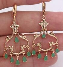 """18K Gold Filled - 2"""" Emerald Jade Bosnian Swirl Waterdrop Chandelier Earrings SW"""