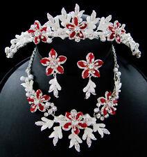 Winter Snowflake Bridal Jewelry Tiara Set White Silver Gold Ivory Red Black