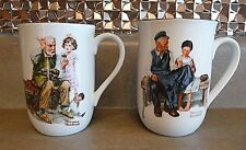 Set of 2 Norman Rockwell Museum Coffee Mugs Cobbler Lighthouse Keepers Daughter