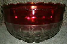 Indiana Glass Lexington Ruby Banded Replacement Punch Bowl Only Exceptional!
